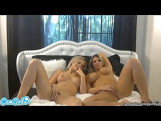 Hottest blonde lesbians with big tits and big asses oil up and massage tits