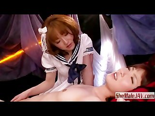 School girl cosplay foreplay with japanese shemale and cute girl