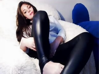 Sweetzoejane in super tight shiny latex leggings and bodysuit