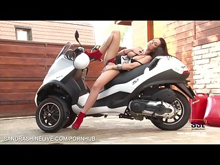 Sandra shine riding a motorbike quite sexy and fingers her pussy