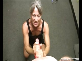 Big facial for the horny granny