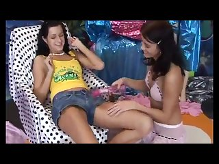 Very tiny teenie lesbian Xxx hot killer Buddies playing with a vibrator