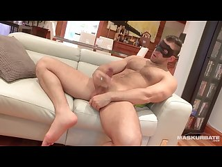 Maskurbate masked hairy male showing off