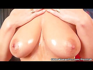Horny grandma with big tits finger fucks her old pussy
