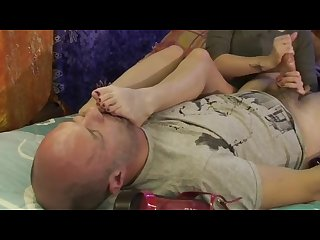 Smelling Nyloned and Naked Sexy feet with Handjob