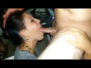 Married milf sucking the cum out of a cock in front of husband friends