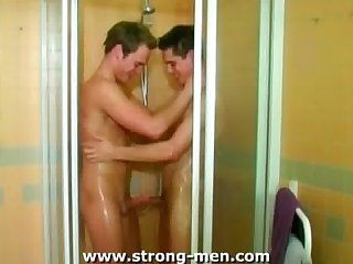 Young guys in the shower
