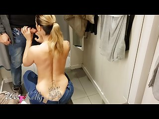 AMATEUR POV PUBLIC FITTING ROOM BLOWJOB IN A CROWD MALL