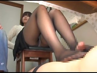 Japanese pantyhose and footjob