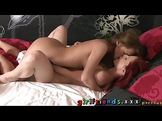 Girlfriends lesbians make hot sensual love in bedroom