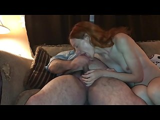 Sexy sit n spin wife riding and sucking cock on the couch