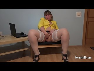 Irina plump hairy pussy fingering her