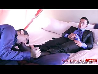 Office guys having fun and feet worship