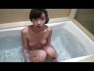 Chinese girl having sex in the hot tub.