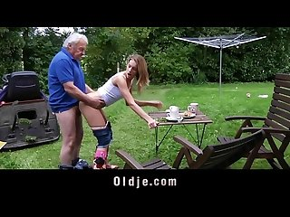 Old man fucking his granddaughter for punish