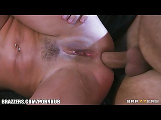 Brazzers squirting mynx fists her pussy while taking big dick in her ass