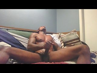 Cocky black tatted dude jacking and edging with big cumshot