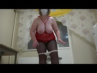 Mature milf rider on a dildo shaking with huge tits