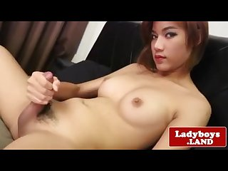 Alluring asian tgirl wanking her hard cock
