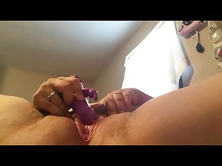 Chubby girl plays with unshaved pussy