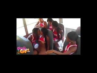 Ebony cheerleader goes lesbian