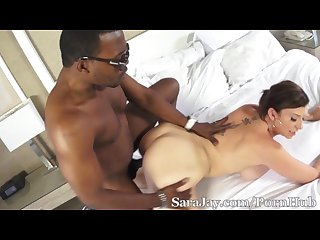 Sara jay rides on moe s big black cock