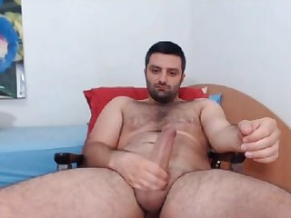 Sexy romanian hairy cub jerks off big dick