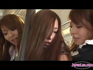Asian girl fucked by 2 girls on the bus