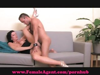 Femaleagent shy hunk gets devoured
