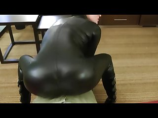 Catsuit tease and blowjob