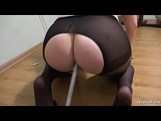 A young girl fucks an ass with a leg of a chair