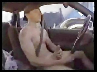 Straight guy w giant cock masturbates while driving his car