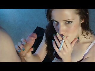 Hot smoking fetish blowjob
