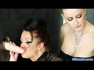 Latex lesbian gloryhole fun with glam babes