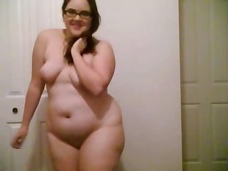 Girl with glasses stripping