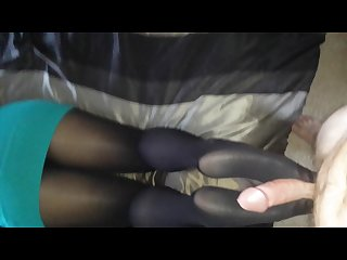 Wife footjob in black tights