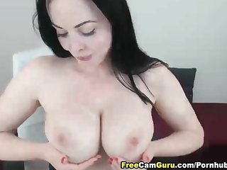 Huge tits babe toying her pussy
