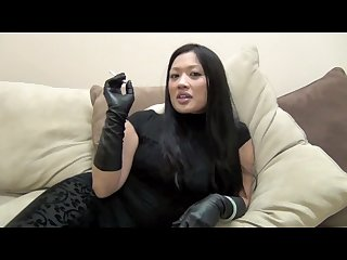 My lovely asian goddess in her majestuous unlined soft leather gloves
