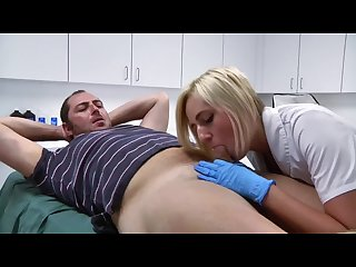 Sexy blonde nurse gives patient emergency mouth hugs