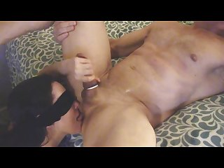 Ball sucking dick stroking ass licking milf