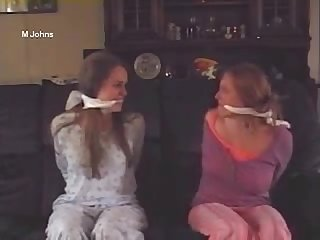 Girls students pyjama bound and gagged