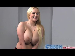 Czech busty blonde gets sprayed with spunk in casting interview