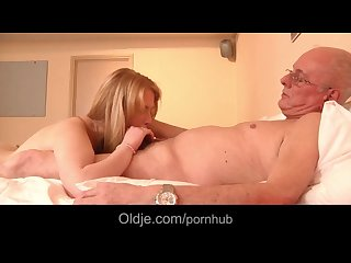 Horny young blonde wants sex with grandpa
