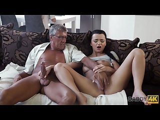 DADDY4K. Middle-aged man has fun with son\'s unsatisfied girlfriend