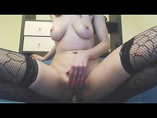 Hq romanian slut riding big black dildo hard