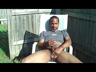 Stroking and cumming outside