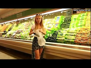 Girlfriend fucks cucumber in public supermarket