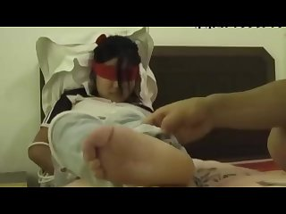 Chinese student Tickle nylons socks barefeet