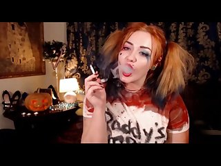 Happy halloween harley quinn smoking showing deepthroating