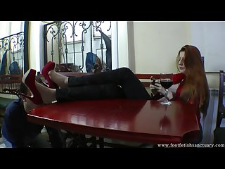 Goddess Victoria makes her slave lick her heels any pantyhosed feet